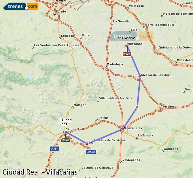 Enlarge map Trains Ciudad Real to Villacañas