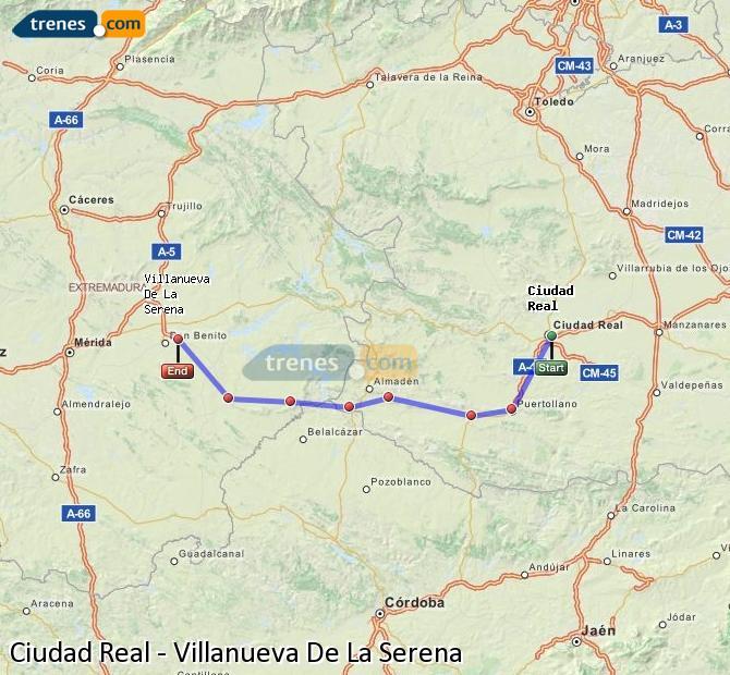 Ampliar mapa Trenes Ciudad Real Villanueva De La Serena