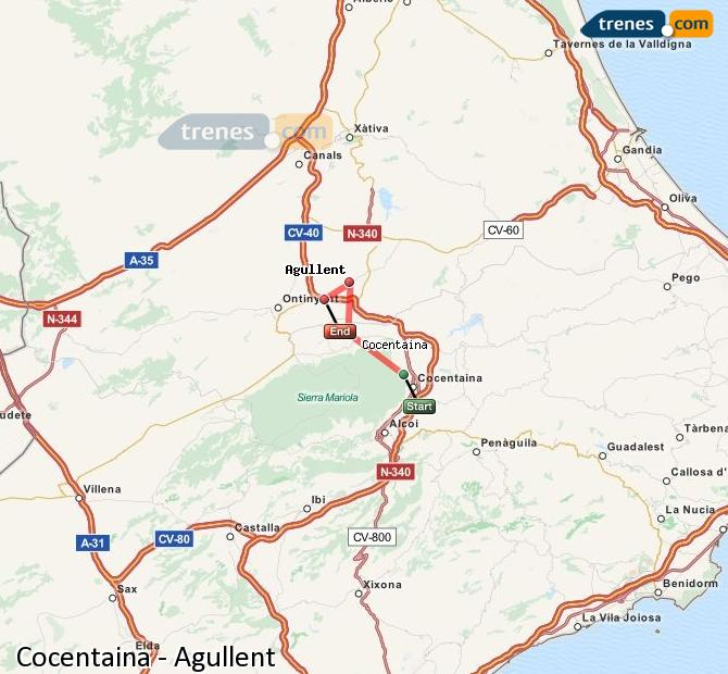 Enlarge map Trains Cocentaina to Agullent
