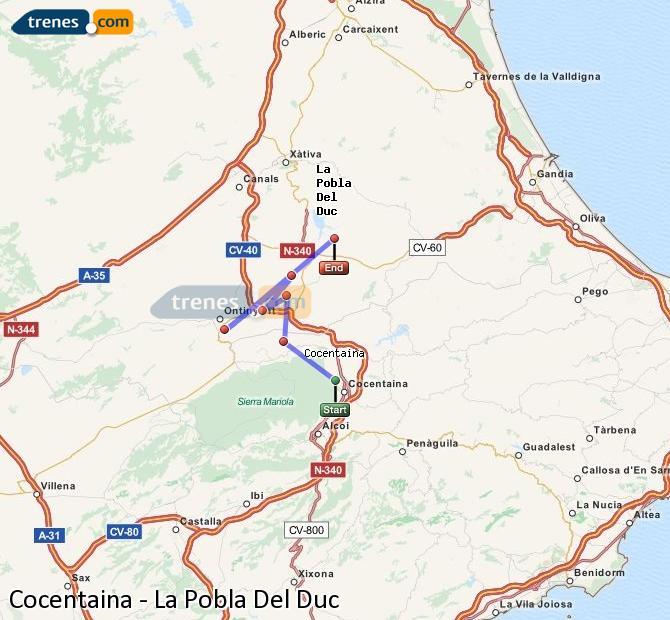 Ampliar mapa Trenes Cocentaina La Pobla Del Duc