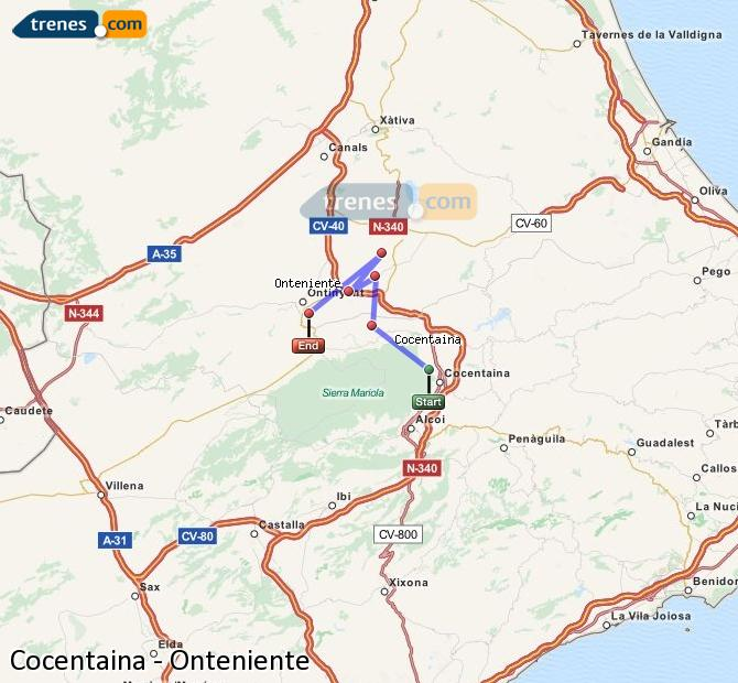 Ampliar mapa Comboios Cocentaina Onteniente
