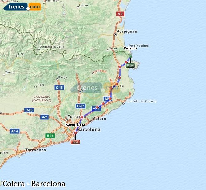 Karte vergrößern Züge Colera Barcelona