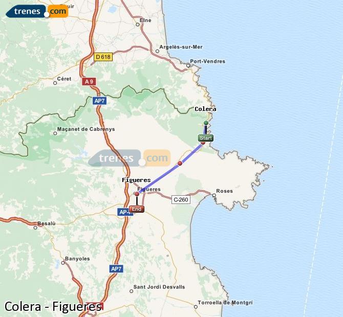 Agrandir la carte Trains Colera Figueres