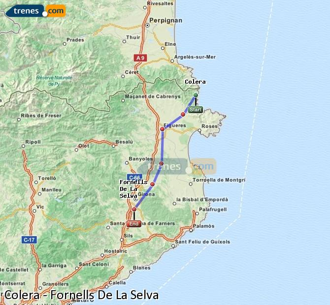 Enlarge map Trains Colera to Fornells De La Selva