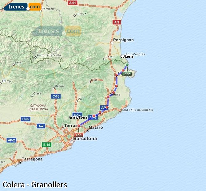Enlarge map Trains Colera to Granollers