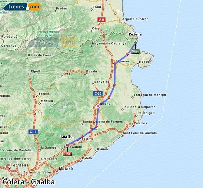 Enlarge map Trains Colera to Gualba