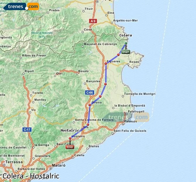 Ampliar mapa Trenes Colera Hostalric