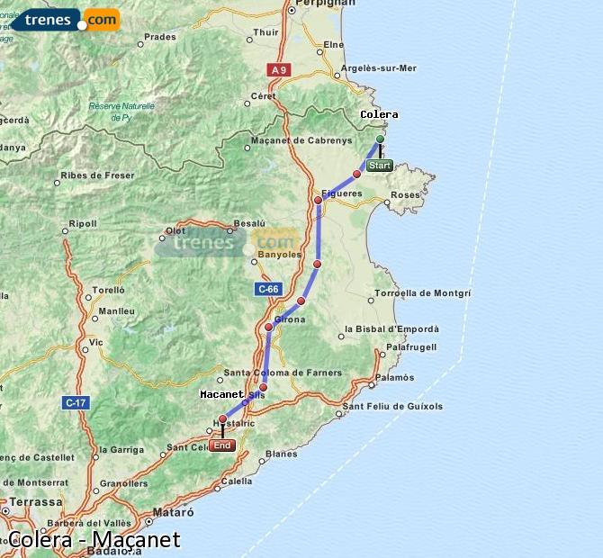Karte vergrößern Züge Colera Maçanet