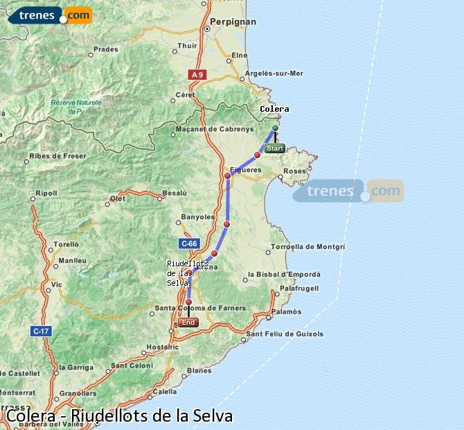 Ingrandisci la mappa Treni Colera Riudellots de la Selva