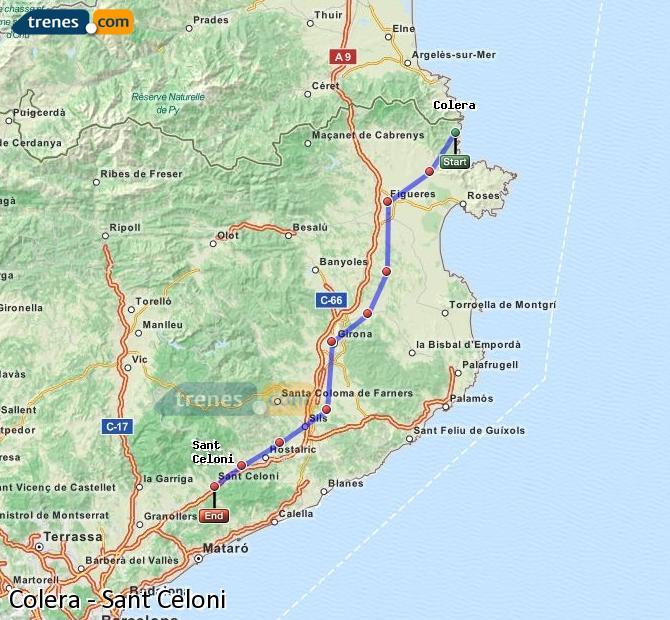 Agrandir la carte Trains Colera Sant Celoni