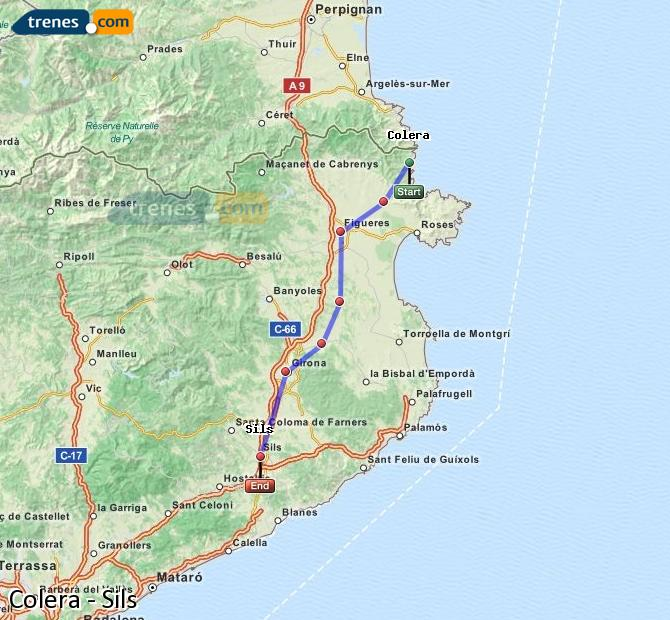 Enlarge map Trains Colera to Sils