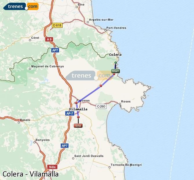 Enlarge map Trains Colera to Vilamalla