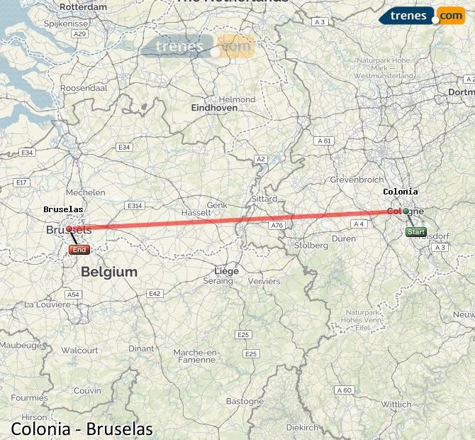 Karte vergrößern Züge Köln Brüssel