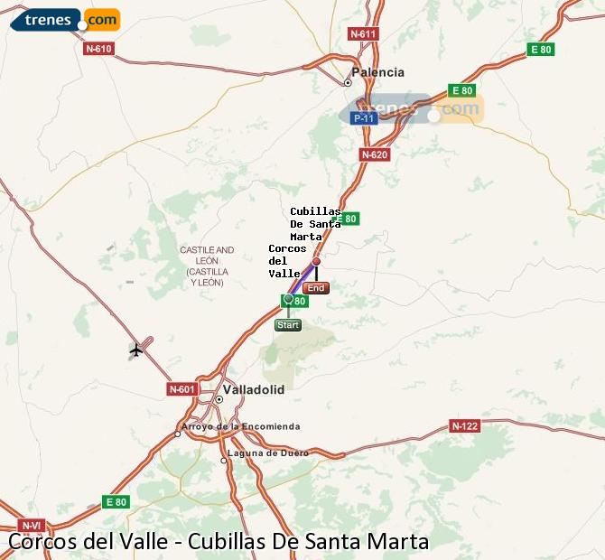 Enlarge map Trains Corcos del Valle to Cubillas De Santa Marta