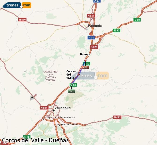 Karte vergrößern Züge Corcos del Valle Dueñas