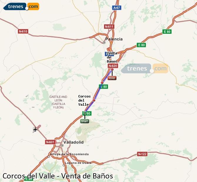 Ampliar mapa Trenes Corcos del Valle Venta de Baños