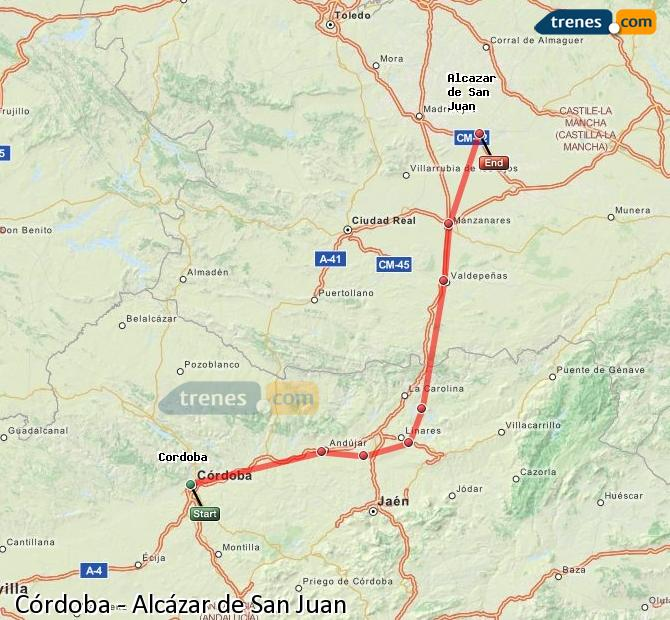 Enlarge map Trains Córdoba to Alcazar de San Juan