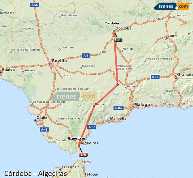 Enlarge map Trains Córdoba to Algeciras