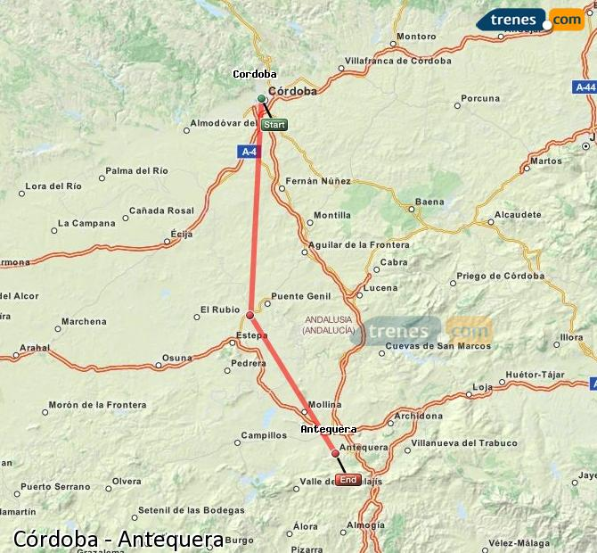 Enlarge map Trains Córdoba to Antequera