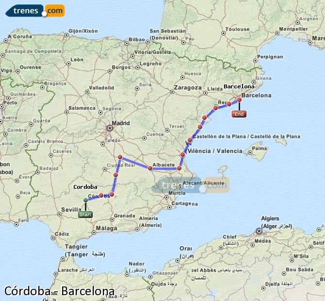 Enlarge map Trains Córdoba to Barcelona