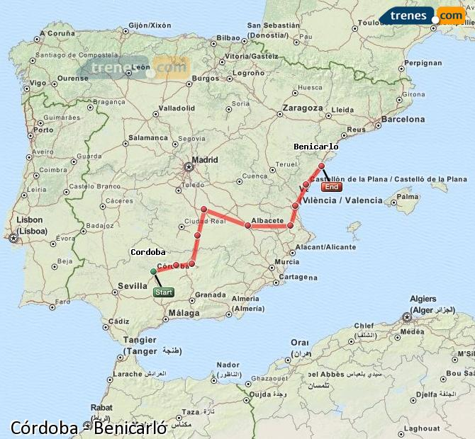 Enlarge map Trains Córdoba to Benicarló