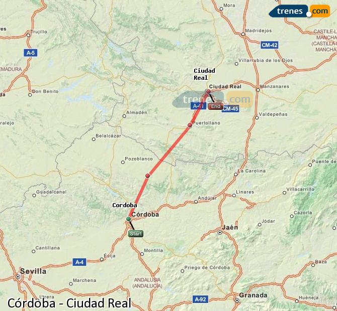 Enlarge map Trains Córdoba to Ciudad Real