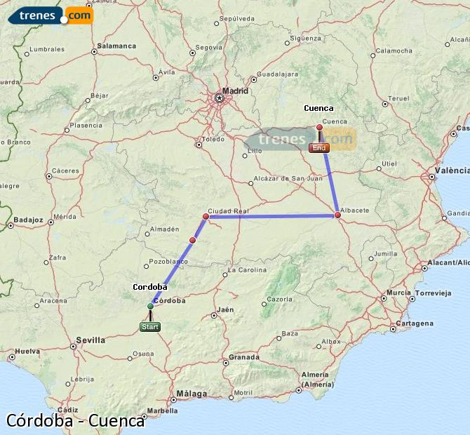 Enlarge map Trains Córdoba to Cuenca