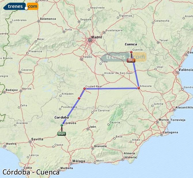 Ampliar mapa Trenes Córdoba Cuenca