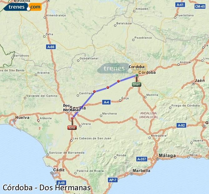 Enlarge map Trains Córdoba to Dos Hermanas