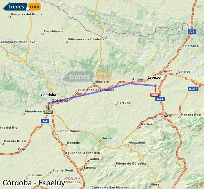 Enlarge map Trains Córdoba to Espelúy