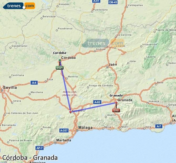 Karte vergrößern Züge Córdoba Granada