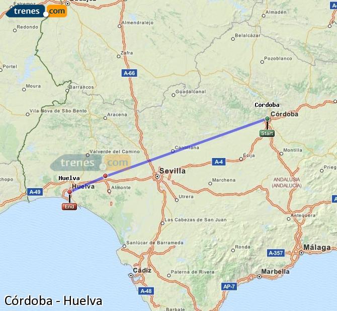 Agrandir la carte Trains Córdoba Huelva