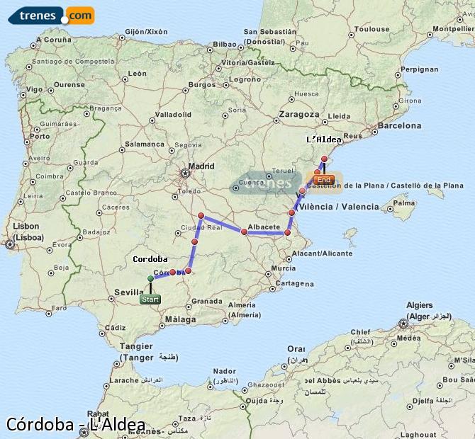 Enlarge map Trains Córdoba to L'Aldea