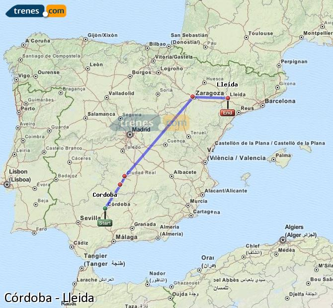 Karte vergrößern Züge Córdoba Lleida