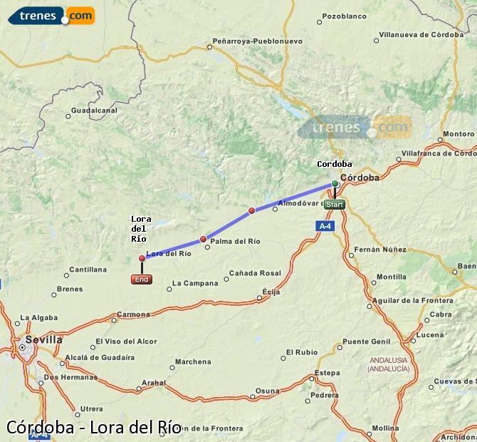 Enlarge map Trains Córdoba to Lora del Río