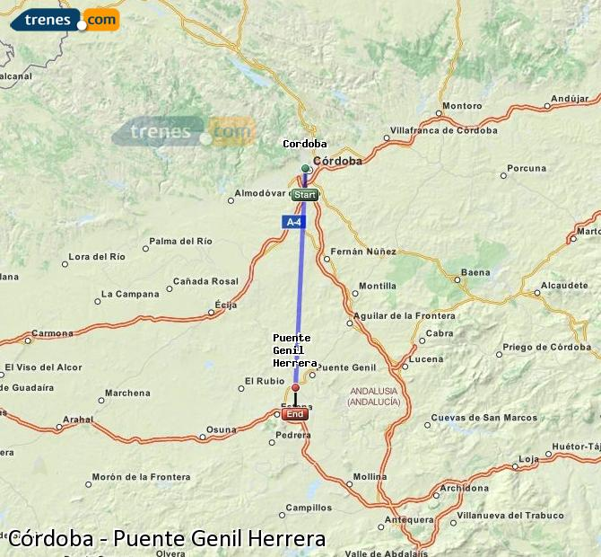 Agrandir la carte Trains Córdoba Puente Genil Herrera