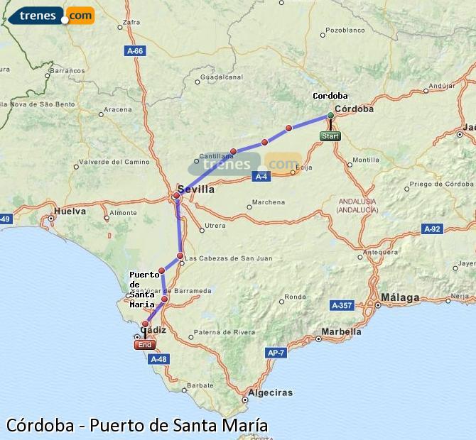 Karte vergrößern Züge Córdoba Puerto de Santa María