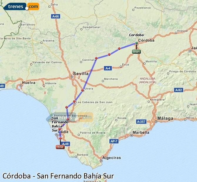 Ampliar mapa Trenes Córdoba San Fernando Bahía Sur
