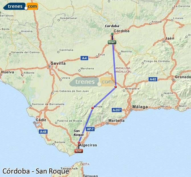 Enlarge map Trains Córdoba to San Roque