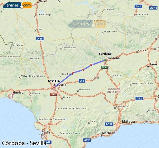 Agrandir la carte Trains Córdoba Sevilla