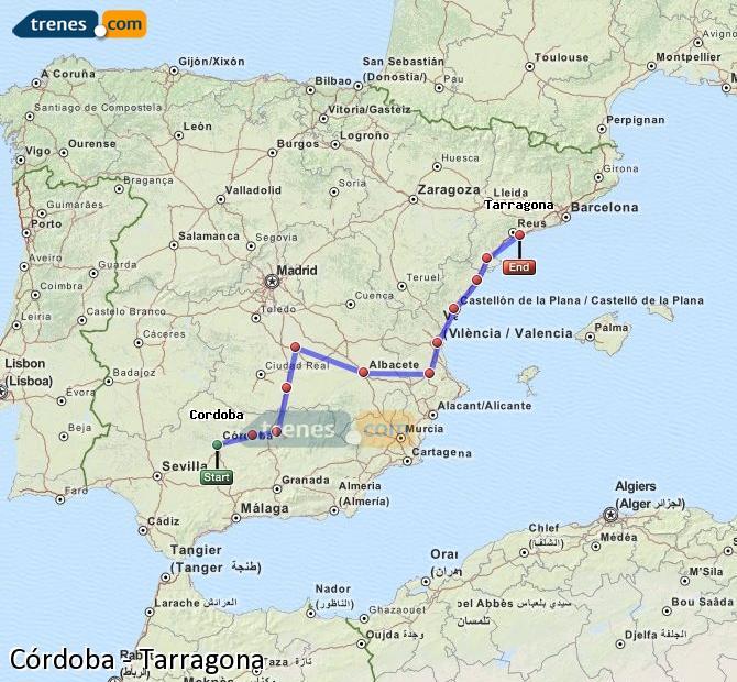 Enlarge map Trains Córdoba to Tarragona