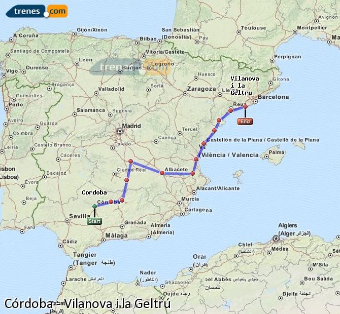 Enlarge map Trains Córdoba to Vilanova i la Geltrú