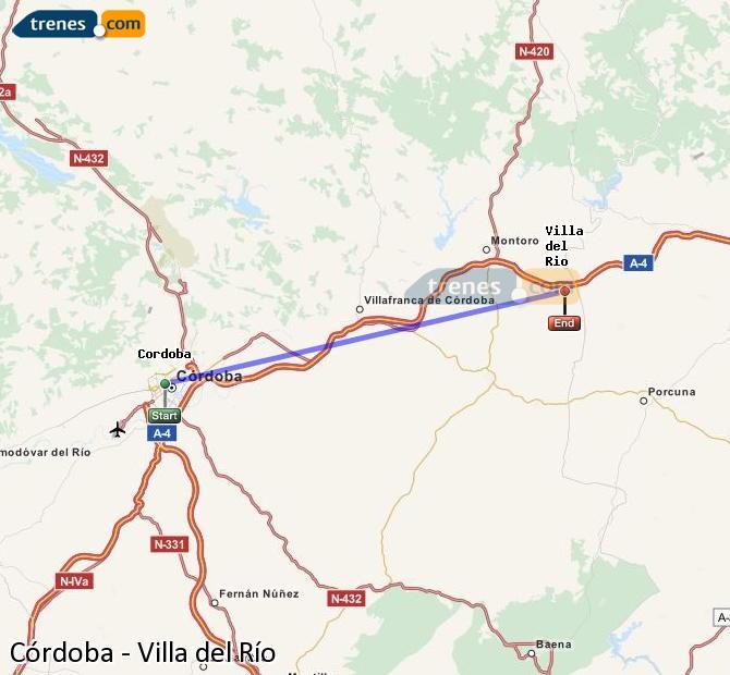 Enlarge map Trains Córdoba to Villa del Rio