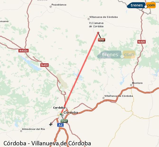 Enlarge map Trains Córdoba to Villanueva de Córdoba