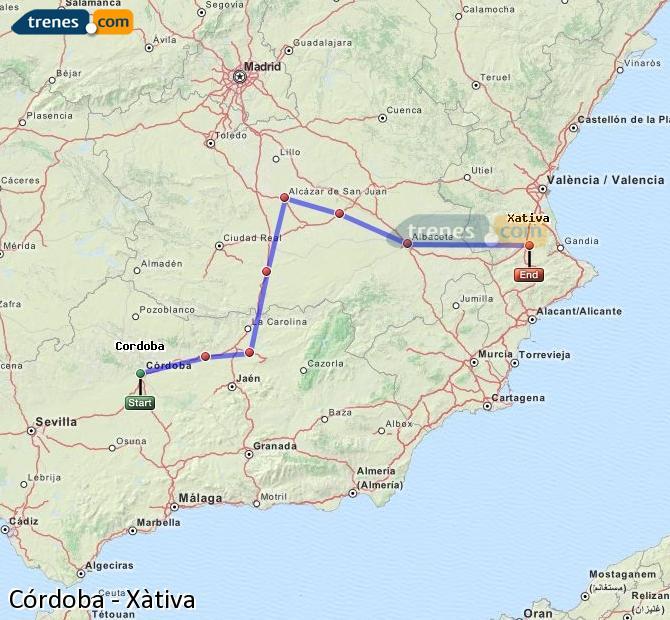 Ingrandisci la mappa Treni Córdoba Xàtiva