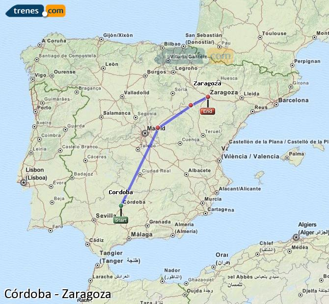 Enlarge map Trains Córdoba to Zaragoza