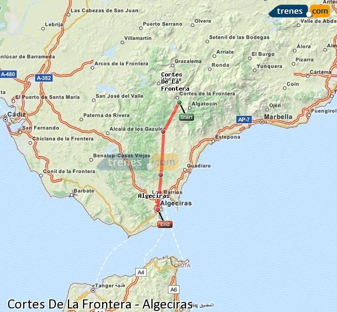 Agrandir la carte Trains Cortes De La Frontera Algésiras