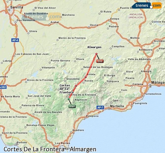 Agrandir la carte Trains Cortes De La Frontera Almargen