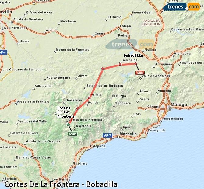 Enlarge map Trains Cortes De La Frontera to Bobadilla