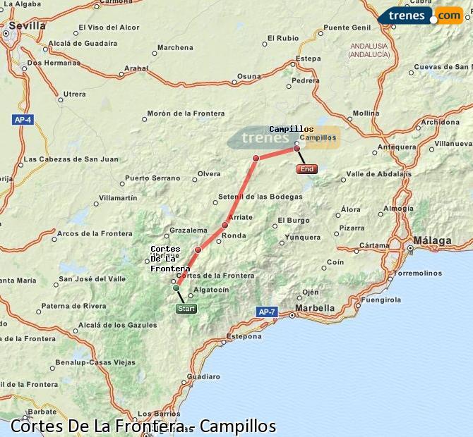 Ampliar mapa Trenes Cortes De La Frontera Campillos